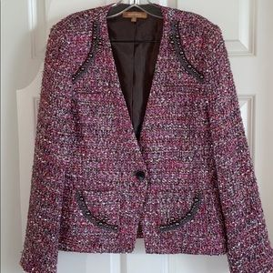 Ellen Tracy Pink Embellished Tweed Jacket 12